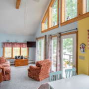 Shore Cottage Vacation Rental Belfast Maine Lofted Ceiling Living Room