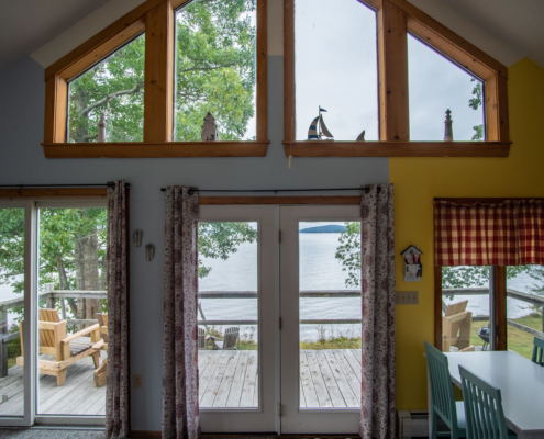 Shore Cottage Vacation Rental Belfast Maine Living Room View